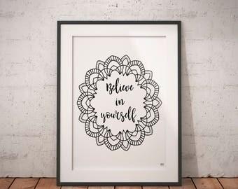 Believe In Yourself Quote,Yoga Poster, Yoga Studio Decor, Mandala Art Print, Mandala Poster, Inspirational Poster, Printable
