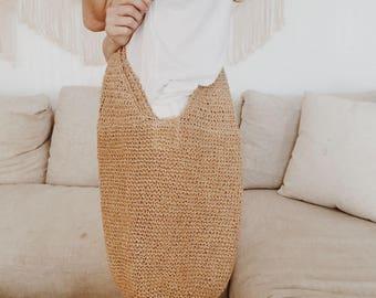 Vintage Crocheted Paper Messenger Bag