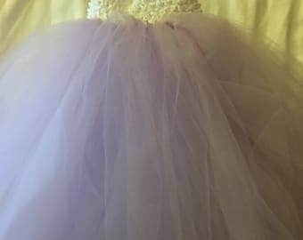 Lavender and white tulle skirt