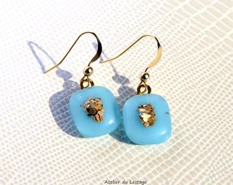 Gold plated earrings and turquoise fused glass