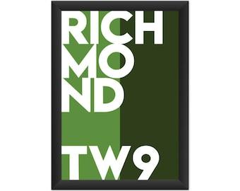Richmond Typography TW9 - Giclée Art Print - South London Poster