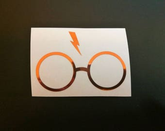 Rose gold foil potter glasses decal, harry potter sticker, trackpad decals, macbook laptop stickers, cornhole decals, ipad stickers