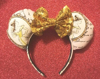 Sparkle Bow Beauty and the Beast inspired Minnie Ears/ Ready To Ship!!!