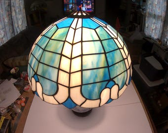 "Blue and White Dome Lamp 16"" diameter"