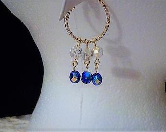 Gold hoop blue AB beads