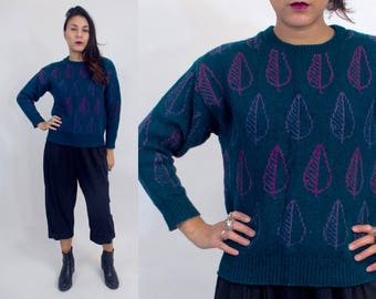 Leaf design knit sweater. Vintage 80s 90s