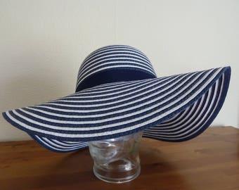 Blue and White striped marine floppy hat