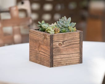 Small Wood Planter Box Centerpiece