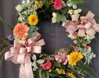 Spring Wreath, Easter Wreath, Front Door Wreath, Shabby Chic Wreath, Mother's Day Wreath, Grapevine Wreath, Everyday Day Wreath