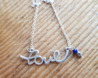 Silver necklace Love and Pearl charms