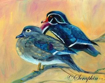Wildlife Wood Duck Original Oil Painting