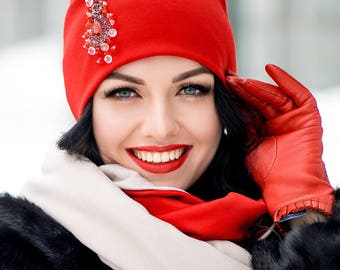 Excellent Red Set Hat and Infinity Scarf Large Wraparound Warm Winter Beanie Neckwarmer Scarf Christmas Gift For Her