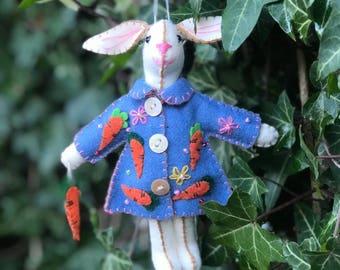 "7.5"" hand stitched ester bunny i blue coat felted rabbit bunny felt decoration / felt hanging ornament chic felt / easter primitive decor"