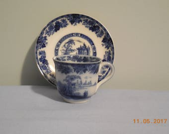 MADRAS Flow Blue Demitasse cup and saucer by Doulton