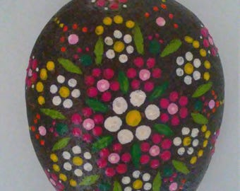 Handmade mandala painted stone