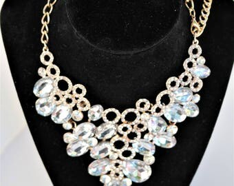 Clear Crystal gold necklace and earring set