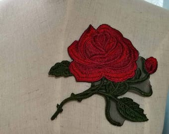 Embroidery Patch-Patches-Rose Patch-Flower Patch-Flower Embroidery-Rose Embroidery-Rose Applique-Iron On Patch-Floral Patch –PL05