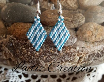 Earrings blue and white striped