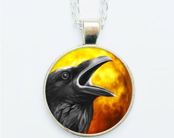 Black Crow Raven Pendant Necklace Earrings Ring Pin Badge Spooky Halloween Dark Fantasy Goth Gothic Occult Spirit Animal Jewelry