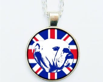 British Bulldog Pendant Necklace / Earrings / Ring / Pin Badge Union Jack Brits United Kingdom Dog Dogs Jewellery Red White And Blue