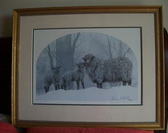 "Collectible Art, Geneva Welch nationally known artist, Signed, numbered, matted &framed 1989 Limited Edition Print entitled ""Mom with Lambs"""