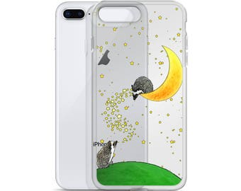 Hedgehogs Amid The Moon And Stars Cute iPhone Case Hedgehog Gift