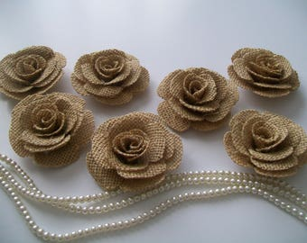 Hessian flowers burlap flowers . Burlap roses . Rustic flowers . Table flowers . Hessian roses . Venue flowers