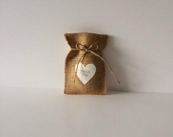 Favour bags . Burlap bags . Hessian bags . Party favour bags . Wedding favour bag . Thank you bag .