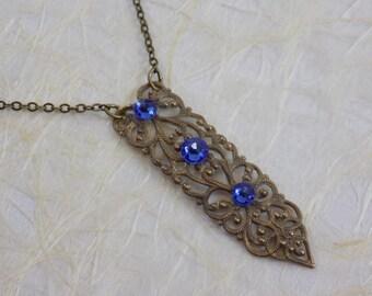 Victorian Filigree with Swarovski Sapphire Crystals Necklace
