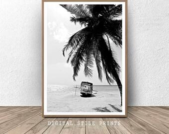 Black And White Print, Boat Print, Minimalist Wall Art, Printable Art, Coastal Print, Palm Art, Beach, Boat, Palm, Beach Decor, Art Print