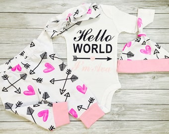 Baby Girl Coming Home Outfit, Going Home Outfit, Hospital Outfit, Baby Girl Set, Newborn Girl Outfit, Baby Girl Outfits Winter, Hello World