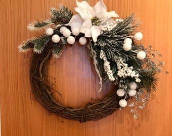 Christmas Grapevine Wreath, Holiday Grapevine Wreath, White Christmas Wreath, Rustic Holiday Grapevine Wreath, Rustic White Wreath