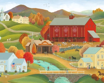 "Folk Art Print ""Autumn at the Big Red Barn"""