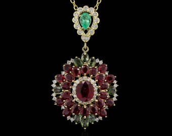 Ruby Emerald Sapphire Necklace