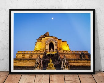 Moonlit Temple Photo // Thailand Travel Photography Print, Asian Wall Art, Buddhism Home Decor, Buddhist Temple Moon, Night Photography