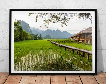 Laos Landscape Photo // Vang Vieng Mountains Print, Asia Travel Photography, Asian Wall Art, Rice Fields Home Decor, Southeast Asia Nature