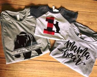 Mama Bear Shirt Papa Bear Shirt BaBy Birthday Bear SET