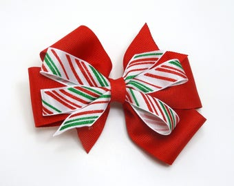 Red Candy Stripe Hair bow, Christmas Hair Bow, Girl's Christmas Bow, Red Holiday Hair Bow, Candy Stripe Holiday Bow, Red Hair Bow
