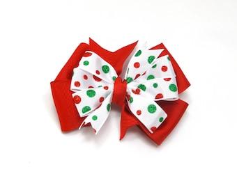 Red Polka Dot Hair bow, Christmas Hair Bow, Girl's Christmas Bow, Red Holiday Hair Bow, Dots Holiday Bow, Red Hair Bow, Holiday party bow