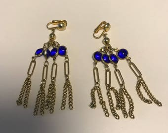 Gold tone and saphire blue chandelier clip earrings