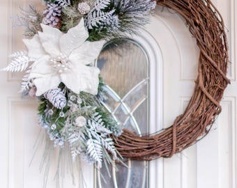Christmas Wreath - Frosted White Wreath - Poinsettia Wreath - Front Door Wreath - Frosted Evergreen Wreath