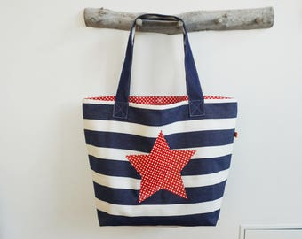 XL Bath Bag * Oilcloth * shopper * Marine/red * optional with or without star