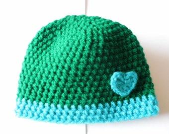 Baby hat in green KU 38-40 cm