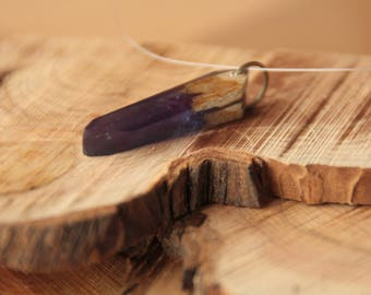 Necklace resin and wood (ash/purple)