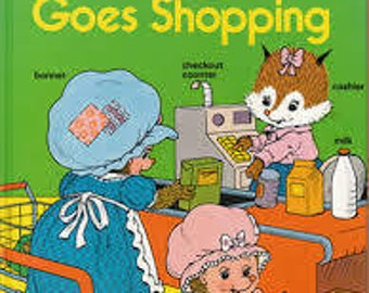 Vintage - Tiggy Goes Shopping Book * Large Hardcover *A HAPPY ENDINGS Book 1987