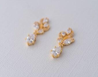 Aya Cubic Zirconia Earrings - Gold, Drop Earrings Wedding, Bridal Jewelry, Bride Earrings, Vintage Gold bridal earrings, CZ Gold Earrings