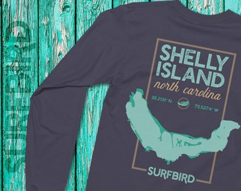Shelly Island North Carolina map long sleeve shirt • Shelly Island North Carolina • Shelly Island NC • Cape Hatteras Outer Banks shirt