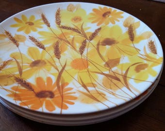 Texas Ware Dinner Plates, Daisy, Flower, Sunflowers, Dallas Ware, Vintage Dishes, Vintage Kitchen, Floral, Melamac, Retro, Camping Plates