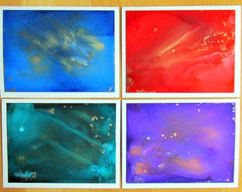 Hand Painted Card Set, Set of Note Cards, Stationery, Alcohol Ink Art, Notecards, Painted Cards, Handmade Cards, Abstract Art, Blank Cards