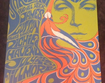 The Doors/Yardbirds Poster for 1967 Concert **Authentic FOURTH PRINTING** Bill Graham BG-075 ~ Fillmore ~ Artist Bonnie MacLean ~ Rare Find!